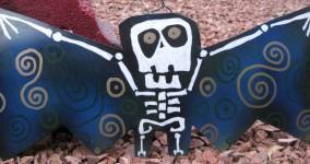 Skeleton Bat: Kooky Metal Yard Art