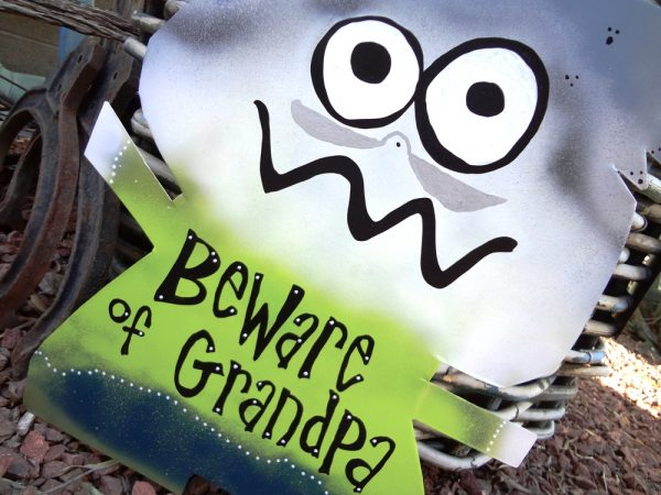 beware of grandpa  custom family and friends signs
