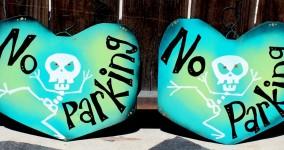 Custom Skeleton Heart Signs for Home or Office: No Parking, No Soliciting, Go Away!