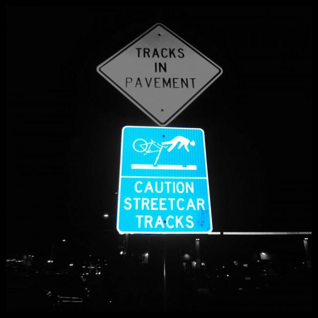 streetcar sign bw