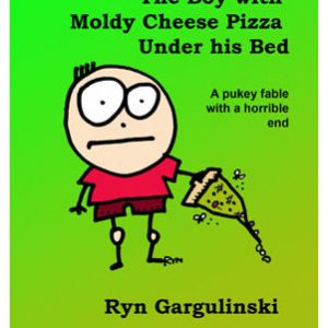 boy with moldy cheese pizza under his bed
